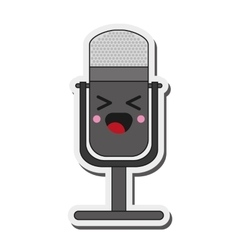 Kawaii microphone icon vector