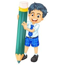 a boy and pencil vector image