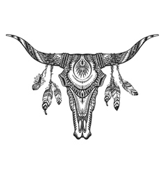 Tribal animal skull with vector
