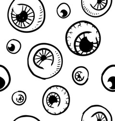 Doodle eye eyeball pattern seamless background vector