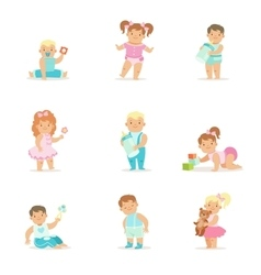 Adorable smiling babies and kids in blue and pink vector