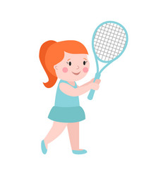 sport girl tennis player with racket athletic vector image