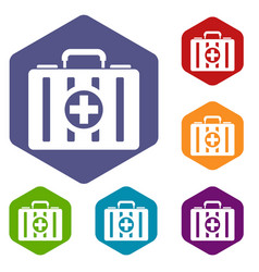 first aid kit icons set vector image