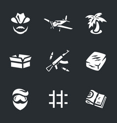 Set of drug lord icons vector