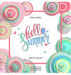 Summer sale poster with beautiful blossom flowers vector