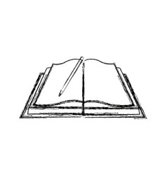 open book pencil study page paper cover supplies vector image