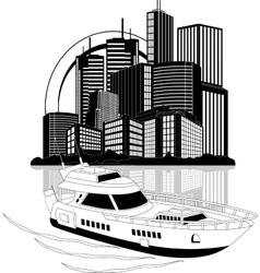 Luxury yacht and skyscrapers vector