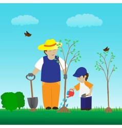 Planting tree with family in the garden vector
