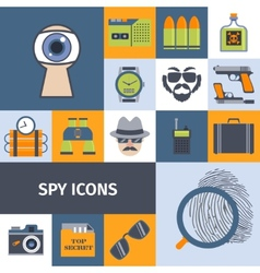 Spy gadgets flat icons composition poster vector