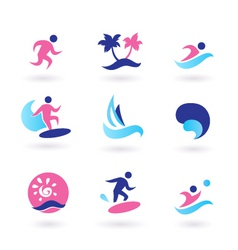 Water sport and vacation icons vector