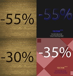 55 30 35 icon set of percent discount on abstract vector