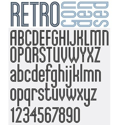 Retro triple line stripes font vector image