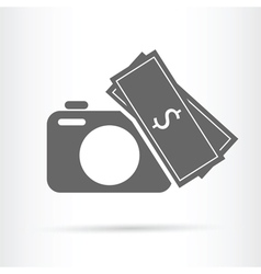 Camera money icon vector