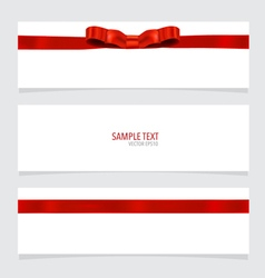 Shiny red ribbon on white background with copy vector