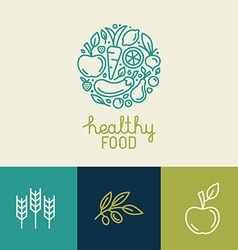 Logo design template with fruit and vegetable vector