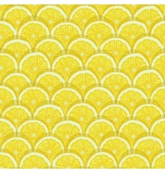 Yellow lemon slices seamless pattern vector