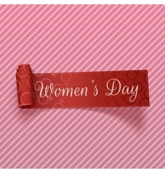 International womens day realistic scroll ribbon vector