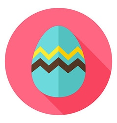 Easter egg with zigzag circle icon vector