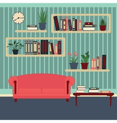 Living room interior modern home room with books vector