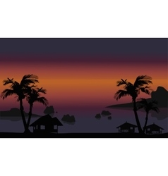 Beautiful beach scenery of silhouette vector