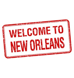 Welcome to new orleans red grunge square stamp vector