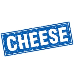 Cheese blue square grunge stamp on white vector
