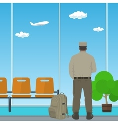 Airport  waiting room with man in uniform vector