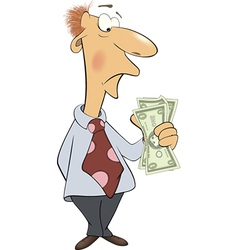 A business man with money cartoon vector image vector image