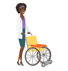 African-american doctor pushing empty wheelchair vector