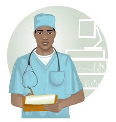 African american doctor with stethoscope vector