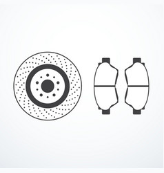 Brake disk and brake pads vector