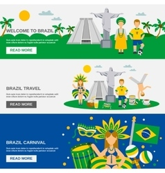 Brazilian culture 3 flat banners set vector