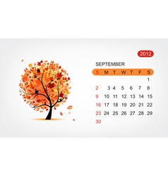 calendar 2012 september Art tree design vector image