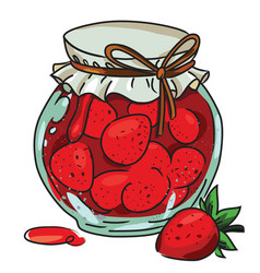 Cartoon image of jar of strawberry jam vector