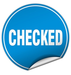 Checked round blue sticker isolated on white vector