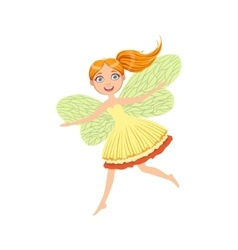 Cute Redhead Fairy Girly Cartoon Character vector image
