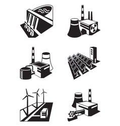 Different power plants vector image vector image
