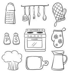 doodle of equipment kitchen set vector image vector image