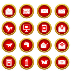 email icon red circle set vector image vector image