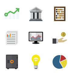 Flat icon finance set of counter growth vector