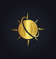 Globe planet arrow gold logo vector