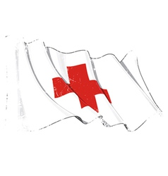 Grunge Flag of Red Cross vector image