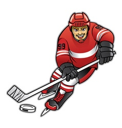 Ice hockey player dribbling vector