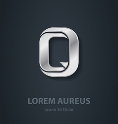 Letter Q elegant silver font Template for company vector image