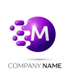 M letter splash logo purple dots circle bubble vector