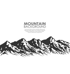 Mountain range silhouette isolated on white vector