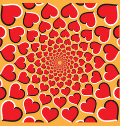Optical background red hearts are moving vector