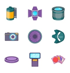 Photography equipment icons set cartoon style vector