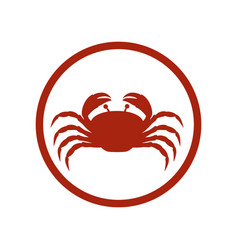 Red circular ornament with crab inside vector