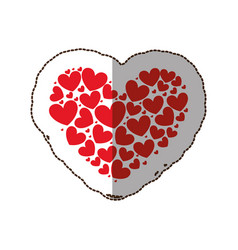 Red heart with little hearts inside vector